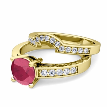 Pave Diamond and Solitaire Ruby Engagement Ring Bridal Set in 18k Gold, 5mm