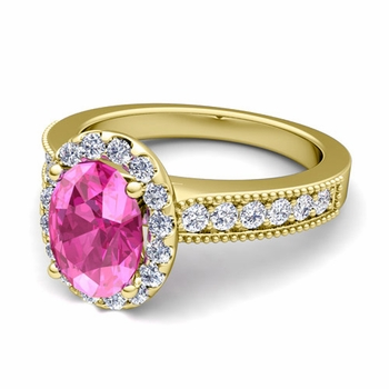 Milgrain Diamond and Pink Sapphire Halo Engagement Ring in 18k Gold, 7x5mm