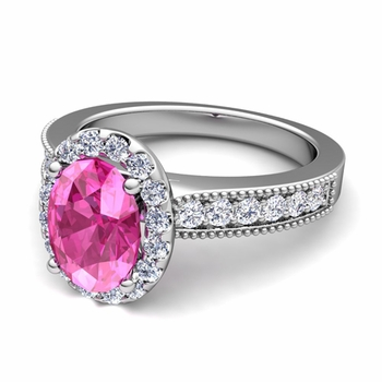 Milgrain Diamond and Pink Sapphire Halo Engagement Ring in Platinum, 7x5mm