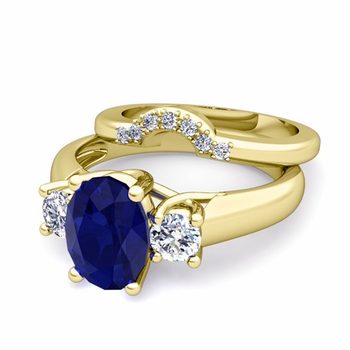 Classic Diamond and Sapphire Three Stone Ring Bridal Set in 18k Gold, 7x5mm