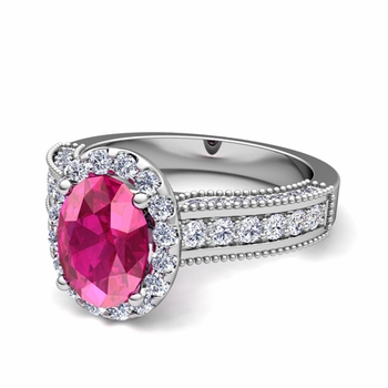 Heirloom Diamond and Pink Sapphire Engagement Ring in Platinum, 7x5mm