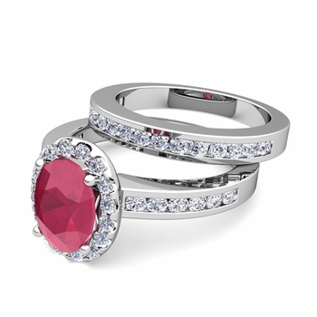 Halo Bridal Set: Diamond and Ruby Engagement Wedding Ring in Platinum, 7x5mm