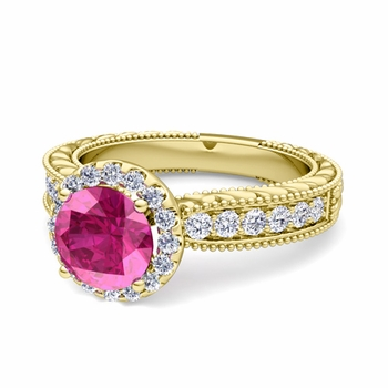Vintage Inspired Diamond and Pink Sapphire Engagement Ring in 18k Gold, 6mm