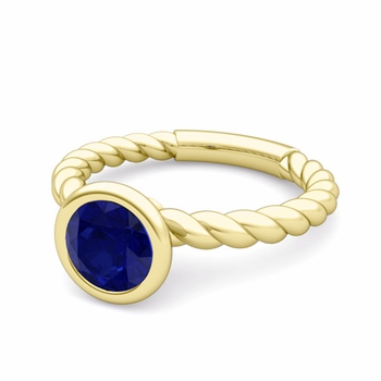 Bezel Set Solitaire Blue Sapphire Ring in 18k Gold Twisted Rope Band, 7mm