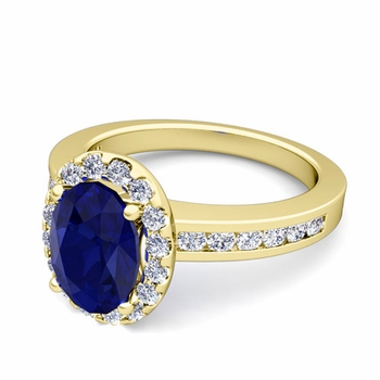 Diamond and Sapphire Halo Engagement Ring in 18k Gold Channel Set Ring, 7x5mm