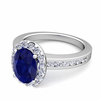 Diamond and Sapphire Halo Engagement Ring in Platinum Channel Set Ring, 7x5mm
