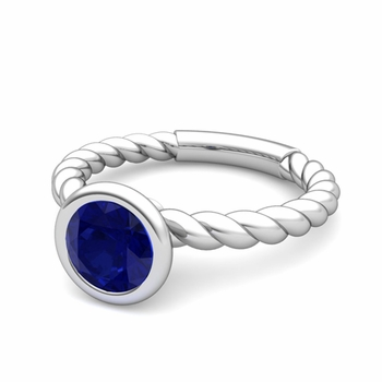 Bezel Set Solitaire Blue Sapphire Ring in 14k Gold Twisted Rope Band, 7mm
