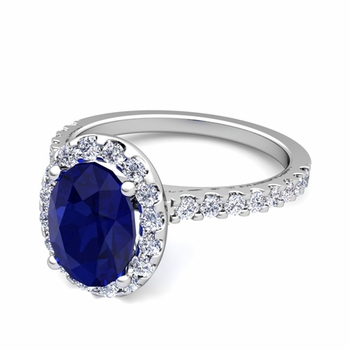 Petite Pave Set Diamond and Sapphire Halo Engagement Ring in 14k Gold, 7x5mm