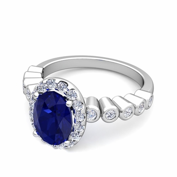 Bezel Set Diamond and Sapphire Halo Engagement Ring in 14k Gold, 7x5mm
