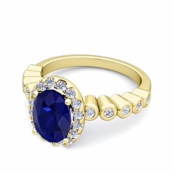 Bezel Set Diamond and Sapphire Halo Engagement Ring in 18k Gold, 7x5mm