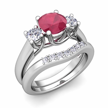 Trellis Diamond and Ruby Three Stone Ring Bridal Set in 14k Gold, 6mm