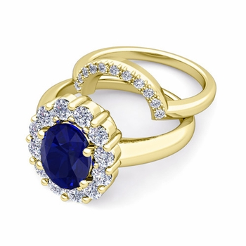 Diana Diamond and Sapphire Engagement Ring Bridal Set in 18k Gold, 9x7mm
