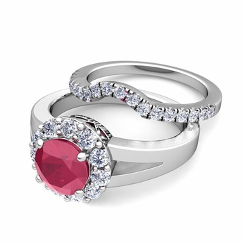 Radiant Diamond and Ruby Halo Engagement Ring Bridal Set in Platinum, 5mm