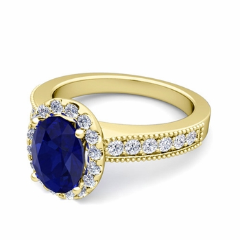 Milgrain Diamond and Sapphire Halo Engagement Ring in 18k Gold, 7x5mm