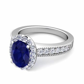Milgrain Diamond and Sapphire Halo Engagement Ring in Platinum, 7x5mm
