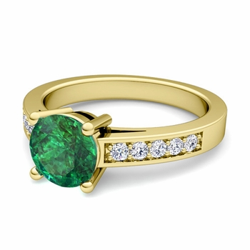 Pave Diamond and Solitaire Emerald Engagement Ring in 18k Gold, 7mm