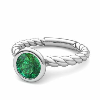 Bezel Set Solitaire Emerald Ring in 14k Gold Twisted Rope Band, 7mm