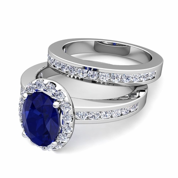 Halo Bridal Set: Diamond and Sapphire Engagement Wedding Ring in 14k Gold, 7x5mm