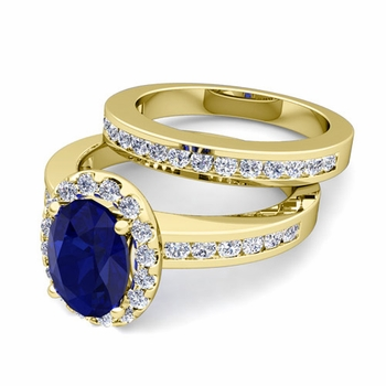 Halo Bridal Set: Diamond and Sapphire Engagement Wedding Ring in 18k Gold, 7x5mm