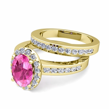 Halo Bridal Set: Diamond and Pink Sapphire Engagement Wedding Ring in 18k Gold, 7x5mm