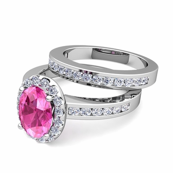 Halo Bridal Set: Diamond and Pink Sapphire Engagement Wedding Ring in Platinum, 7x5mm