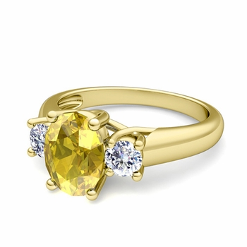 Classic Diamond and Yellow Sapphire Three Stone Ring in 18k Gold, 7x5mm