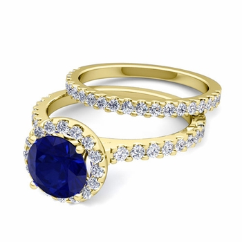 Bridal Set: Pave Diamond and Sapphire Engagement Wedding Ring in 18k Gold, 5mm