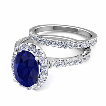 Bridal Set: Pave Diamond and Sapphire Engagement Wedding Ring in 14k Gold, 7x5mm