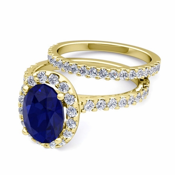 Bridal Set: Pave Diamond and Sapphire Engagement Wedding Ring in 18k Gold, 7x5mm