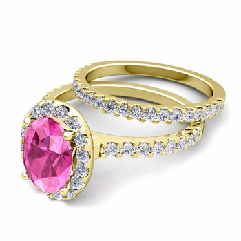 Bridal Set: Pave Diamond and Pink Sapphire Engagement Wedding Ring in 18k Gold, 7x5mm