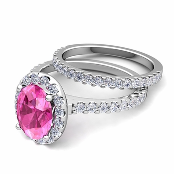 Bridal Set: Pave Diamond and Pink Sapphire Engagement Wedding Ring in Platinum, 7x5mm