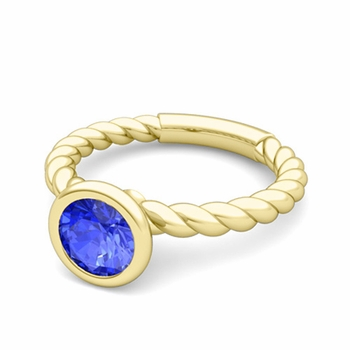 Bezel Set Solitaire Ceylon Sapphire Ring in 18k Gold Twisted Rope Band, 7mm