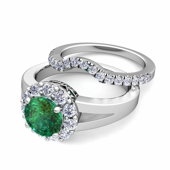Radiant Diamond and Emerald Halo Engagement Ring Bridal Set in Platinum, 7mm