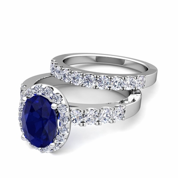 Halo Bridal Set: Pave Diamond and Sapphire Wedding Ring Set in 14k Gold, 7x5mm