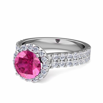 Two Row Diamond and Pink Sapphire Engagement Ring in 14k Gold, 6mm