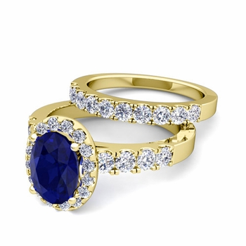 Halo Bridal Set: Pave Diamond and Sapphire Wedding Ring Set in 18k Gold, 7x5mm