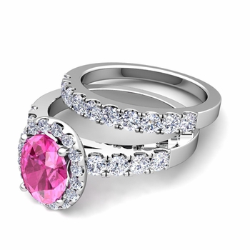 Halo Bridal Set: Pave Diamond and Pink Sapphire Wedding Ring Set in 14k Gold, 7x5mm