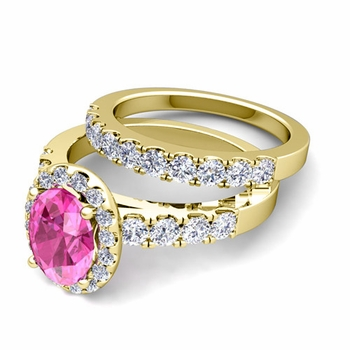 Halo Bridal Set: Pave Diamond and Pink Sapphire Wedding Ring Set in 18k Gold, 7x5mm
