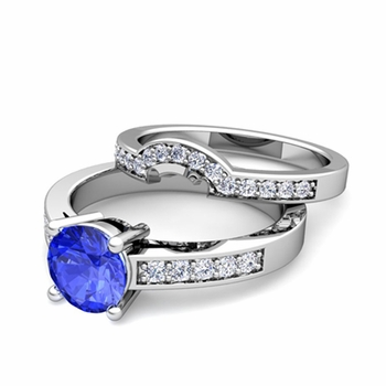 Pave Diamond and Solitaire Ceylon Sapphire Engagement Ring Bridal Set in 14k Gold, 7mm