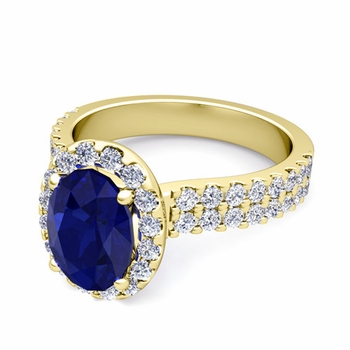 Two Row Diamond and Sapphire Engagement Ring in 18k Gold, 8x6mm