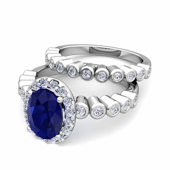 Halo Bridal Set: Bezel Diamond and Sapphire Wedding Ring Set in 14k Gold, 7x5mm