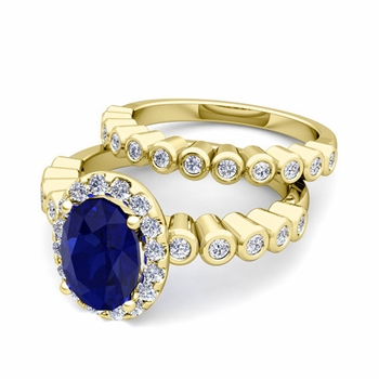 Halo Bridal Set: Bezel Diamond and Sapphire Wedding Ring Set in 18k Gold, 7x5mm