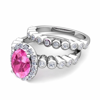 Halo Bridal Set: Bezel Diamond and Pink Sapphire Wedding Ring Set in 14k Gold, 7x5mm