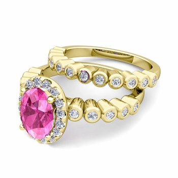 Halo Bridal Set: Bezel Diamond and Pink Sapphire Wedding Ring Set in 18k Gold, 7x5mm