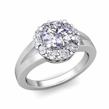 Radiant Diamond Halo Engagement Ring in 14k Gold