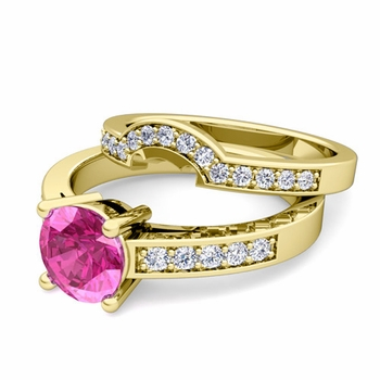 Pave Diamond and Solitaire Pink Sapphire Engagement Ring Bridal Set in 18k Gold, 6mm
