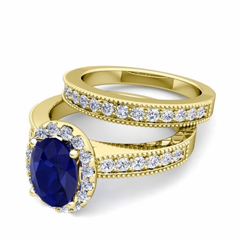 Halo Bridal Set: Milgrain Diamond and Sapphire Engagement Wedding Ring Set in 18k Gold, 7x5mm