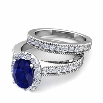 Halo Bridal Set: Milgrain Diamond and Sapphire Engagement Wedding Ring Set in Platinum, 7x5mm