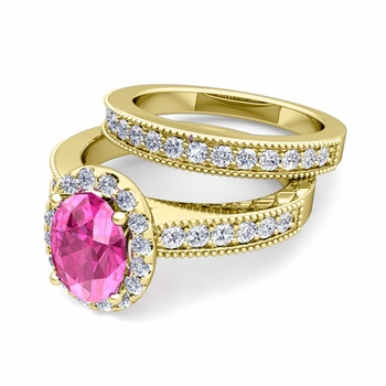 Halo Bridal Set: Milgrain Diamond and Pink Sapphire Wedding Ring Set in 18k Gold, 7x5mm