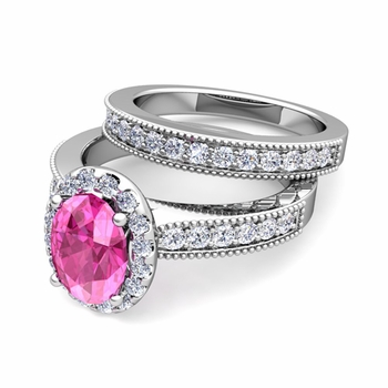 Halo Bridal Set: Milgrain Diamond and Pink Sapphire Wedding Ring Set in Platinum, 7x5mm